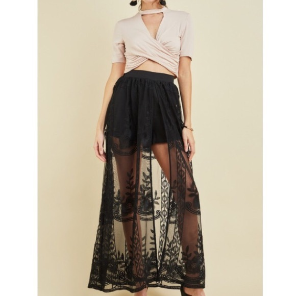hot-selling cheap new season luxury aesthetic 🆕Ayla Black Sheer Lace Long Maxi Skirt Skort Boutique